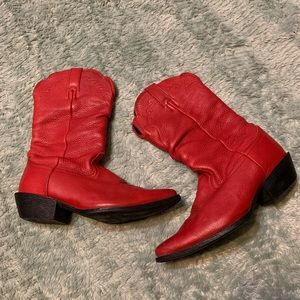 Nocona Competitor Red Leather Cowboy Boots 8